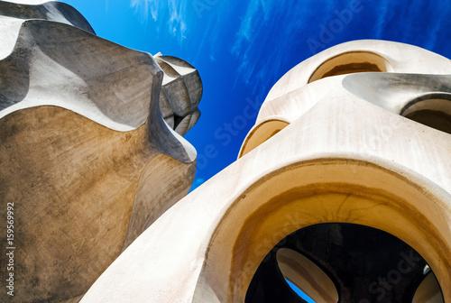Chimney on Case Mila - house designed by Antoni Gaudi in Barcelona, Spain