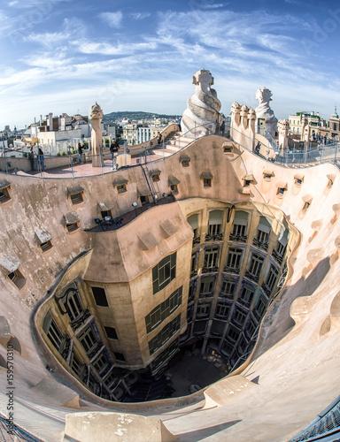 Papiers peints Barcelona Rooftop of Case Mila - house designed by Antoni Gaudi in Barcelona, Spain