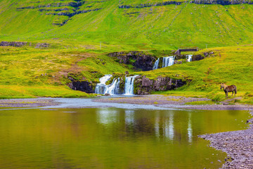 Cascade Falls on the green grassy hill