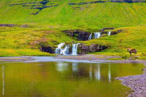 Cascade Falls on the green grassy hill Poster