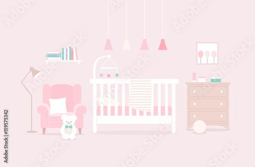 Vector illustration of a nursery. Child bedroom