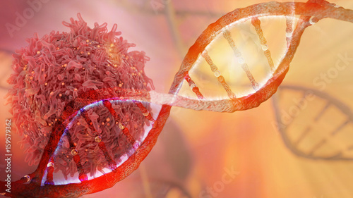 DNA strand and Cancer Cell Oncology Research Concept 3D rendering - 159579362