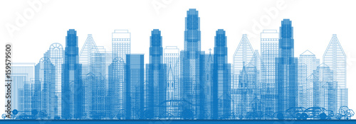 Outline Skyline with City Skyscrapers. - 159579500