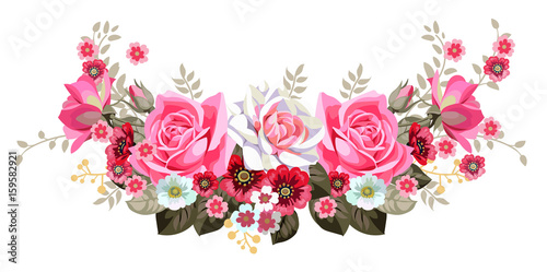 Fototapeta Garland with roses and cute small flowers 2
