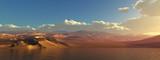 Coastal landscape Panorama of a wild beach Desert and sea