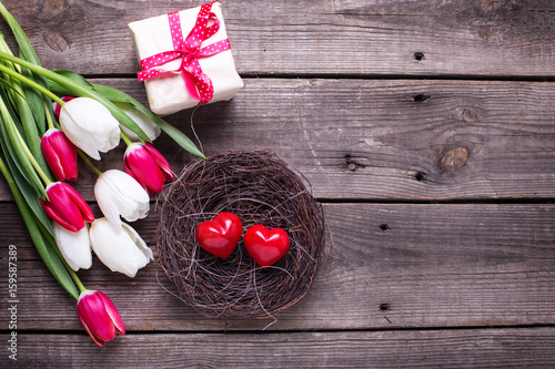 Decorative red little hearts  in nest, bright  spring  tulips flowers, box with present  on textured background