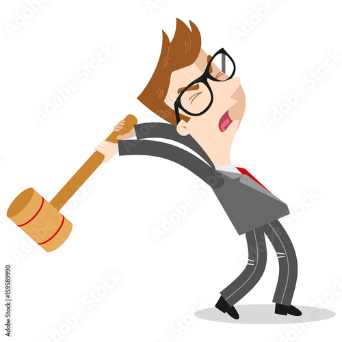 Furious caucasian cartoon businessman screaming and swinging a sledgehammer