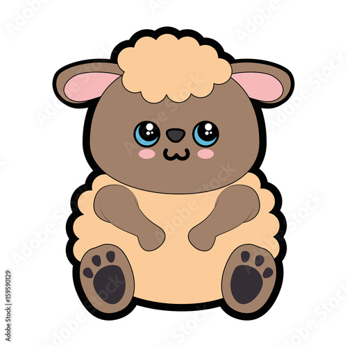 Sheep kawaii cartoon icon vector illustration graphic design - 159590129