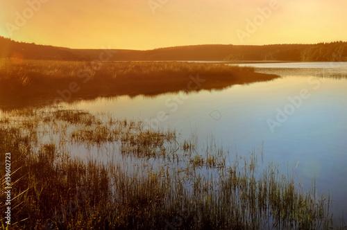 Plagát beautiful sunset on a lake