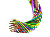 A bunch of multi-colored electric wires. 3D illustration - 159607598