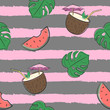 Cotton fabric Seamless colorful pattern with watermelons, monstera leaves and cocktails. Vector pattern with striped background