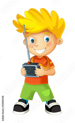 cartoon happy boy playing with radio controller for some toy - illustration for children - 159615548