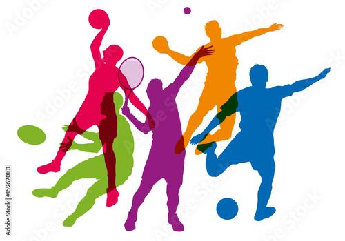 sport - sportif - tennis - football - basket - rugby -handball - silhouette - affiche