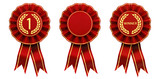 Set of red and gold rosettes isolated on white , First place winner ribbon cockades - 159624137