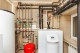Household boiler house with heat pump, barrel; Valves; Sensors and an automatic control unit - 159626178