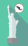 Long shadow statue of liberty with  a map of Mexico