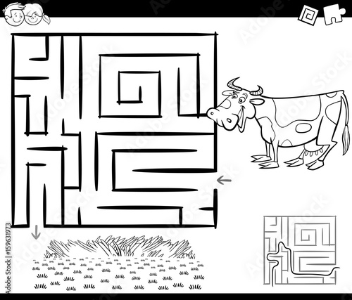maze with cow for coloring
