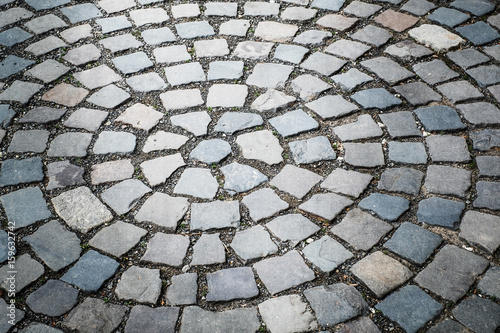 Cobble stone brick road abstract background - 159632742