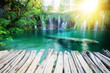 Beautiful summer forest waterfall