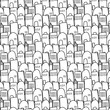 City pattern is repetitive texture with hand drawn houses. - 159635712
