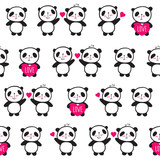 Seamless pattern with hand drawn cute pandas and hearts for textiles, wallpapers, gift wraps and scrapbook. Sketch, doodles, elements for Valentine's Day, mother's day, birthday, wedding. Vector.