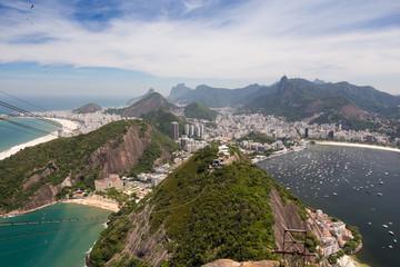 Ausblick vom Zuckerhut auf Rio Gondel Seilbahn Strände Buchten Copacabana