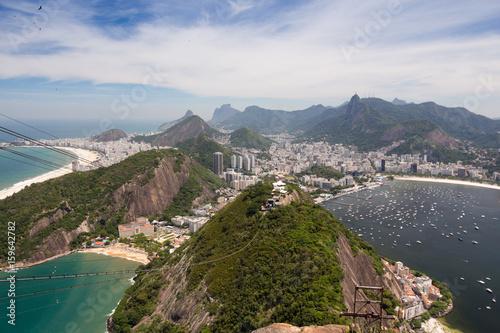 Foto op Plexiglas Rio de Janeiro Ausblick vom Zuckerhut auf Rio Gondel Seilbahn Strände Buchten Copacabana
