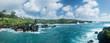 Panorama of coast at Waianapanapa on the road to Hana in Maui