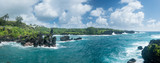 Panorama of coast at Waianapanapa on the road to Hana in Maui