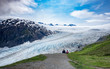 Father and son hiking at Exit Glacier, Kenai Fjords National Park, Alaska