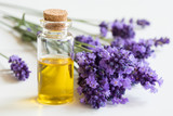 A bottle of essential oil with fresh lavender twigs - 159645725