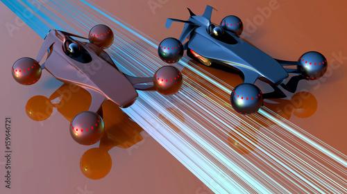 Aluminium F1 3D illustration of a flying transport