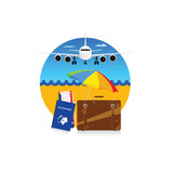 travel symbol with suitcase and passport illustration