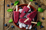 Blueberry Ice cream with fresh blueberries and ices - 159653522