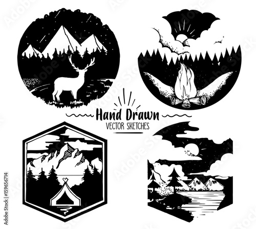 Fotobehang Hipster Hert Hand Drawn logo set. Trendy collection of outdoor company, camping, adventure labels. mountain camping , Campfire and dark forest .Vector illustration for your design.