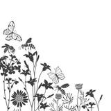 Floral background with meadow flowers, butterflies and bees. Vector corner illustration  with place for text. Invitation, greeting card. Black silhouettes on white background.