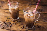 iced coffee on rustic wooden background. - 159663378