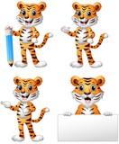 Set of tiger cartoon