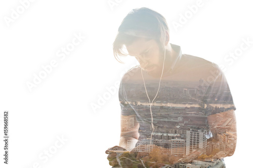 Double exposure of a man using smart phone and a city - 159668582