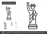 Liberty statue vector line icon isolated on white background. Liberty statue line icon for infographic, website or app. Scalable icon designed on a grid system. - 159669119