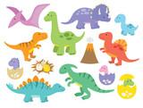 Fototapeta Dinusie - Vector illustration of dinosaurs including Stegosaurus, Brontosaurus, Velociraptor, Triceratops, Tyrannosaurus rex, Spinosaurus, and Pterosaurs. © JungleOutThere