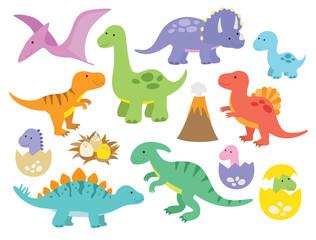 Vector illustration of dinosaurs including Stegosaurus, Brontosaurus, Velociraptor, Triceratops, Tyrannosaurus rex, Spinosaurus, and Pterosaurs. © JungleOutThere