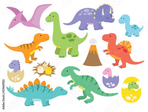 Fototapeta Vector illustration of dinosaurs including Stegosaurus, Brontosaurus, Velociraptor, Triceratops, Tyrannosaurus rex, Spinosaurus, and Pterosaurs.