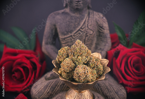 Foto op Plexiglas Spa Zen background with roses and cannabis buds - medical marijuana and meditation concept