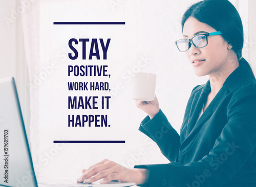 Papiers peints Positive Typography Inspirational and motivation quote on people portrait background with vintage filter
