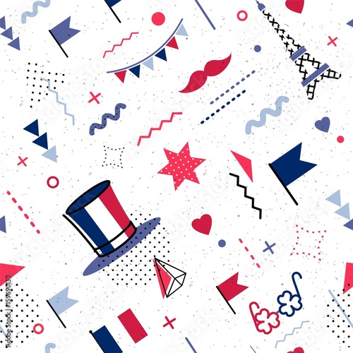 14 July Happy Bastille Day abstract background in 80s memphis style. Seamless memphis pattern for posers and cards. Colors of france national flag. Vector illustration