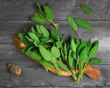 Fresh aromatic sage on old wooden background - 159691518
