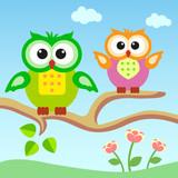Cartoons owls sitting on a branch.