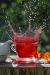 fruity tea splash on the garden table