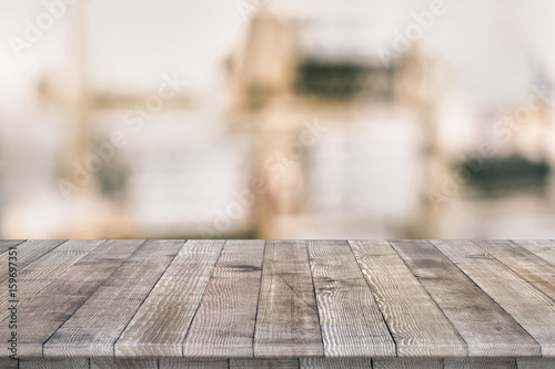 Wooden tabletop perspective for product placement or montage with focus to table. Wooden board surface. - 159697351